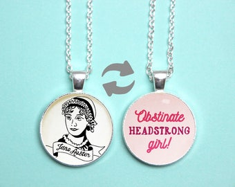Jane Austen Quote Reversible Pendant. Obstinate Headstrong Girl Necklace. Pride and Prejudice Jewellery. Feminist Literary Gift. Book Lover