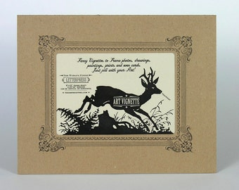 Two Kraft LETTERPRESS VIGNETTES to Mat and Frame YOUR Own Art