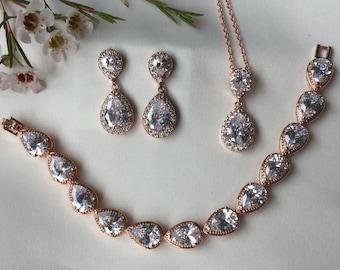 Bridal Jewellery Wedding Jewellery Bridal Accessories Cubic Zircon Bracelet Bridal Jewellery Set Bridal Earrings Bridesmaid Gift
