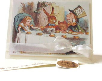 Alice in Wonderland Birthday Card, Bibliophile Card, Merry UnBirthday Tea Party, 3D Handmade Greeting Card, Cheshire Cat, Literary Gift