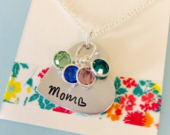 Mom Birthstone Necklace, Mother's Necklace, Mom Gift, Personalized Birthstone Necklace,