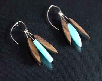 Modern Feather Earrings - Seafoam Green (EF005)