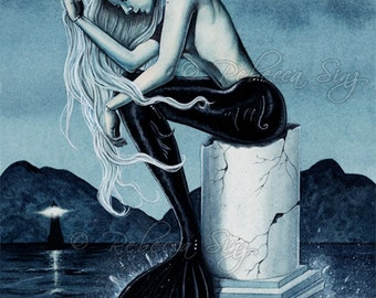Stormy Seas ORIGINAL Painting Gothic Mermaid Fantasy Art
