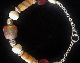 African Trade Bead Bracelet, Antique Beads, Antique Bead Bracelet, African Padre Beads. Silver Beads, Artisan Bracelet, Antique Beads,
