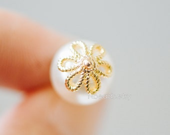 20pcs Gold/ Silver Floral Bead Caps 10mm, Fit 12mm Beads, Real Gold/ Rhodium plated Brass, Lead Nickel Free (GB-196)