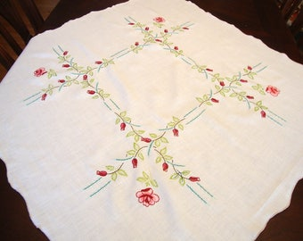 Vintage Embroidered Roses Linen Cotton Tablecloth 38 x 40 Lovely!