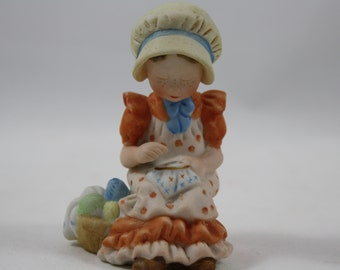 Vintage Holly Hobbie Girl with Sewing Basket Figurine, A Touch of Kindness