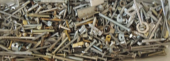 Vintage  4 lb Lot Mixed Hardware screws, nuts, bolts & More For Assemblage Art And Craft (#8)