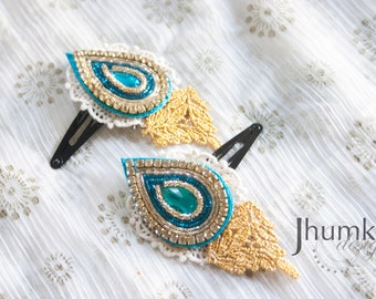 Neel - 1 Bollywood Applique and Venetian Lace HAIR CLIP by jhumki designs by raindrops