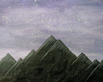 "Under the Stars, Acrylic on Canvas Board 9""x12"""