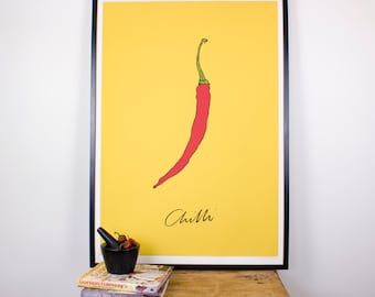 High Quality Chilli kitchen wall print - Giclee print