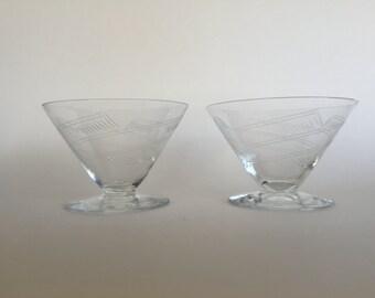 Two Vintage 30s Etched Crystal Sorbet Glasses