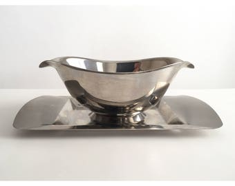 Vintage Stainless Steel Gravy Boat with Tray, Vintage Gravy Boat, Vintage Sauce Dish