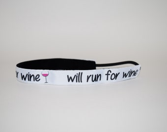 Will Run for Wine Headband- Run Headband- Runner- White- Pink- MRTT-7/8 inch headband- Wine headband- Sport Headband- nonslip- no slip
