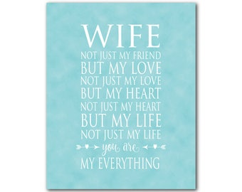 Wife Typography PRINT - Anniversary Gift -  Wedding Gift - Wall Art - What is a wife  quote - gift for her - gift for wife - wall decor