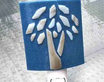 Night Light, Blue with Light Brown Raised Mosaic Tree Design, Art Glass, Wall Plug In