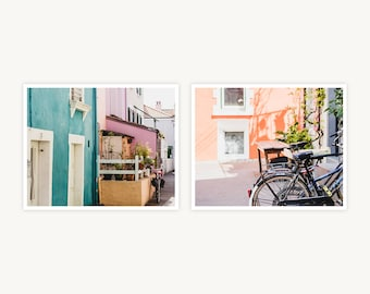 "France Travel Photography, ""Pastel Houses of Trentemoult"", Set of 2 Fine Art Prints, Gallery Wall, Home Decor, Gift"