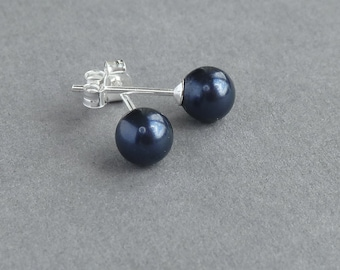 Navy Blue Studs - Night Blue Swarovski Pearl Stud Earrings - Midnight Blue Bridesmaid Jewelry - Bridesmaids Gifts - Post Earrings
