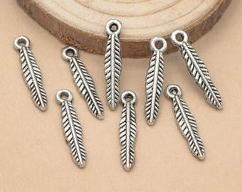 Feather Charms, 25pc, 25mm, Tiny Feather Charm, Alloy Metal Charms - C683