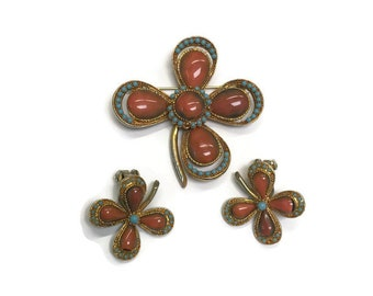 Four Leaf Clover Jewelry Set, Vintage 1960s Demi Parure, Coral Glass and Turquoise Bead Jewelry, Costume Jewelry