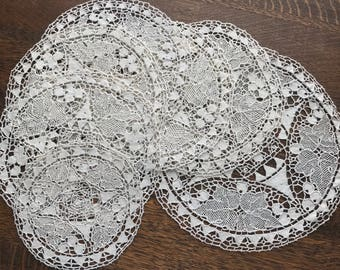 Seven Matching Italian Linens~Reticella Needle Lace Rounds~Doilies~Ecru~Heirloom Linens~Hand-Made~Pristine~Set of 7