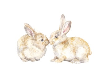 Snuggle Bunnies Limited Edition Print 8.5x11 Watercolor