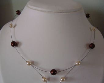 Necklace 1 point Brown and ivory