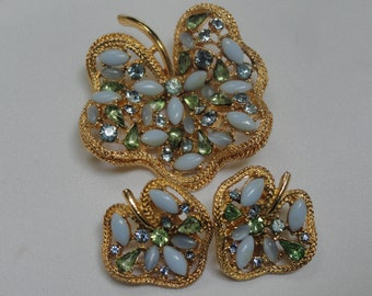 Vintage Designer ART Brooch and Earring Set, Rhinestone and Glass Floral Set