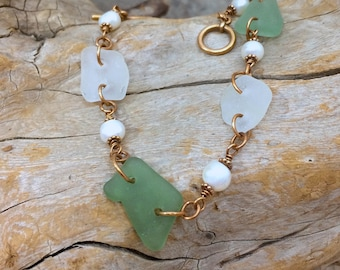 sea glass/ pearl/ bronze bracelet