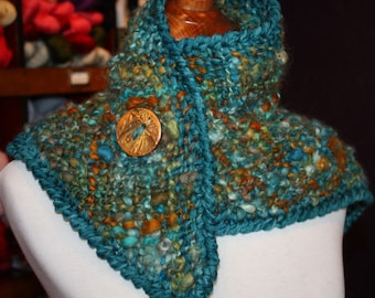 WINTER CLEARANCE SALE Patina Penny Handwoven Shawlette Scarf Cowl Holiday Gift