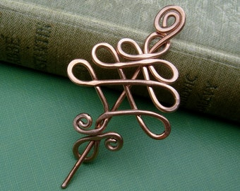 Little Tree Copper Shawl Pin, Scarf Pin, Sweater Brooch, Christmas Tree Pin, Celtic Tree of Life Jewelry, Gift for Knitters, Women, Knitting
