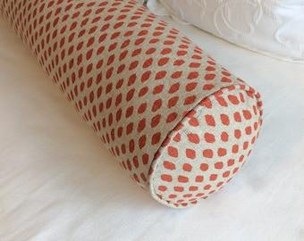 Sahara geranium Lacefield fabric 8x36 Bolster pillow includes insert