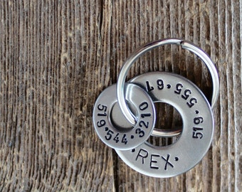 Dog Tag with two numbers - Stainless Steel Pet tag - Hand stamped by Rawkette