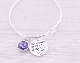 Long Distance Friendship - Long Distance Relationship - Bangle Bracelet - Any State - Engraved Jewelry - Custom Engraving - Deployment
