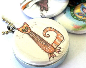 Cats and Bird (recycled magnetic locket set)