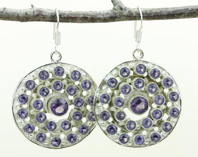 Amethyst 925 SOLID (Nickel Free) Sterling Silver Italian Made Dangle Earrings e665