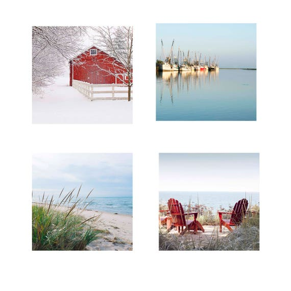 Sale Photos, Four Seasons,  Four Piece Set, Four 12x12 or Four 16x16 Fine Art Photos, Coastal Photos, Wall Art