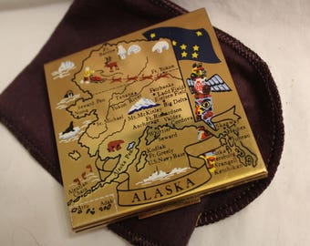 Alaska compact, Elgin American State Compact, Powder case, with sleeve, Totem pole, Mother's Day Gift