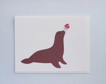 Party Animals - Seal Birthday Cupcake - papercut collage card