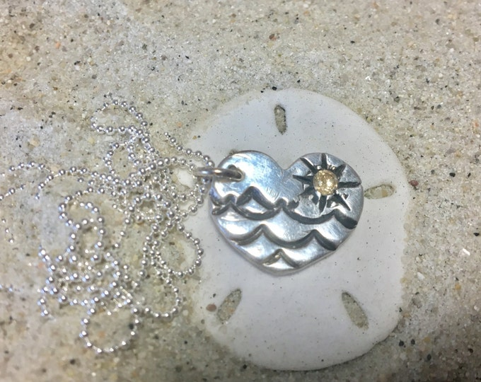 """Fine Silver (.99%) Heart Pendant with Antiqued Waves and 3mm Gold CZ Sun. Sterling 16"""" 18"""" or 20"""" Chain"""