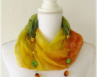 Scarf with necklace, scarf warm colors, scarves with jewel, scarf yellow orange green gold, hand painted silk, gift for wife