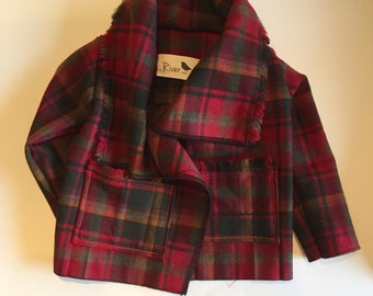 Red Wool Plaid Wrap Coat - size 0-3 months