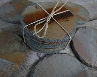 Round Slate Coasters, Stone Trivet, Spoon Rest, Cocktail, Barware, Wedding Gift, Bridal Gift, Birthday Gift, Dinner Party, Reclaimed