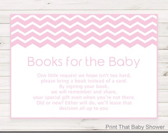 Baby Shower Invitation Insert - Books For Baby, Baby Shower Inserts, Printable Invitation Insert, Books For The Baby Card, Pink Chevron