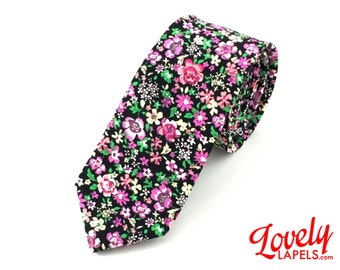 NKT1102 - Slim Cotton Neck Tie, Floral Print