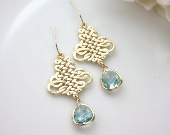 Wedding Earrings, Bridal Earrings Aqua Blue Earrings, Blue Wedding Gold Filigrees Dangle Earrings Chandelier Boho Wedding Something Blue