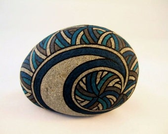 Unique Art 3D Art Avant Garde Artwork Rad Painted Rock Blue Art Collectibles Stylish Aristocratic Gift for Him Awesome Luxury Gift for Her