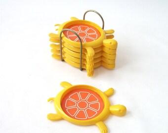 vintage turtle coasters set yellow orange housewares mid century modern retro decorative home decor animal with stand 1970's