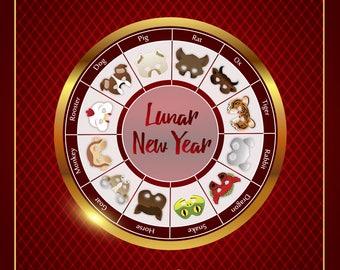 Lunar New Year of the Dog, 2018 New Year Masks, Chinese Zodiac, Set of 12 Printable Masks, Chinese Horoscope Mask, Printable Animal Masks