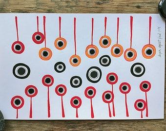 Circles : Orange, Red, and Black